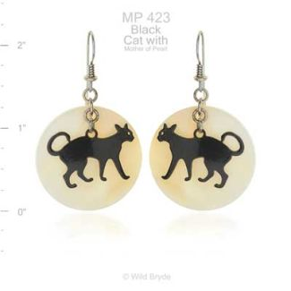 Black Cat with Full Moon Mother of Pearl Earrings