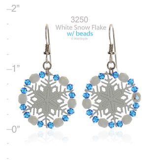 Beaded Arctic White Snowflake Earrings